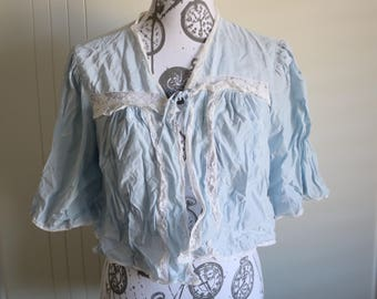 Vintage 40s baby blue bed jacket