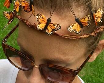 Petite Orange Butterfly Crown