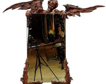 victorian mirror with carved wood satyr - venice ca. 1880