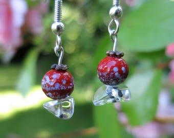 Speckled Maroon Glass Earrings