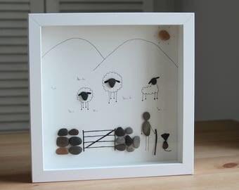 Countryside Pebble Art - Shepherd - Pebble Art - Home decor - Country living - Countryside home decor - Drawing