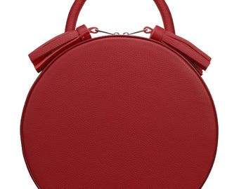 Leather round handbag, Red leather bag, handmade handbag, real leather bag, summer bag, women medium bag, round leather bag, Vintage round