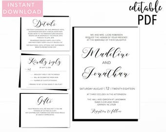 Simple Calligraphy Wedding Invitation Template, Printable Wedding Invitations, Wedding Invitations, Calligraphy, Calligraphy Invite,