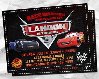 Cars Invitation, Cars 3 Invitations, Cars Birthday, Cars Party, Movie Invites, Lightning Mcqueen Invite, Jackson Storm Printables, Race Card
