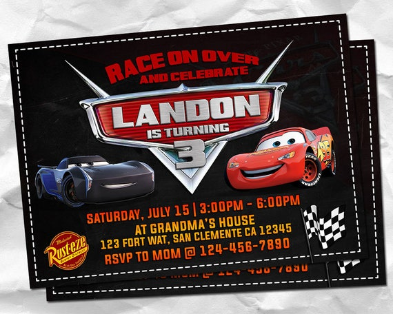 Cars Invitation Cars 3 Invitations Cars Birthday Cars