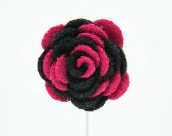 Ashley Black/Pink Flower Lapel Pin