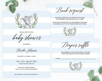 Elephant Baby Shower Invitation Boy Printable, Blue Elephant Invites, Baby Party Invitation Template Download, Light Blue Stripes, PDF LBE