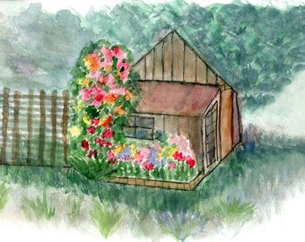 Impressionist Watercolor Greetings Card: Flowers on Shed, Marin County | JackieSMontagueArt