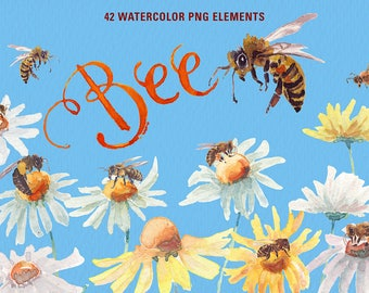 Watercolor Happy bee clipart. predesigned watercolor images. Ideal for, labels, printable, cards, posters, stickers, web and more