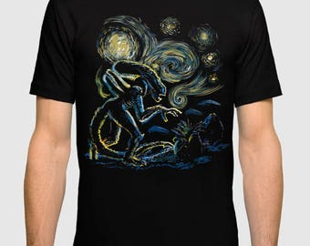 Xenomorth Starry Night Men's Women's T-shirt Ridley Scott Alien Tee