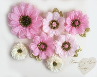 Pink Tissue Paper Flowers Poms Party Decorations First Birthday Decor flower backdrop