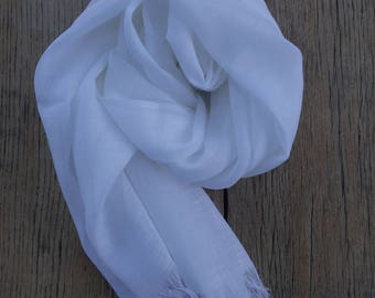 Long white linen scarf, softened linen scarf, long linen scarf, linen scarf for women, 200 cm scarf
