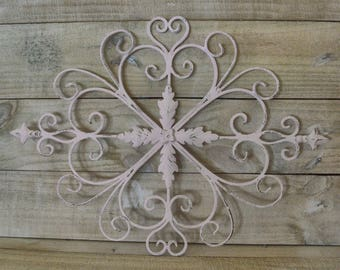 Metal Wall Art, Metal Wall Hanging, Shabby Chic Wall Decor, Shabby Pink, French Country, Romantic Decor, Cottage Decor, Feminine Decor, Pink