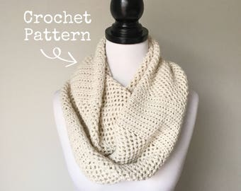Crochet Pattern - Fluted Mesh Infinity Scarf - Instant PDF Download