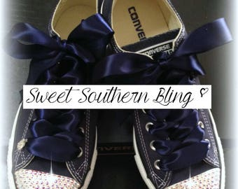 Navy Blue Bling Converse shoes