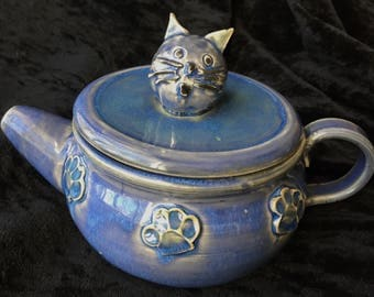 Pottery Cat Teapot Free Shipping