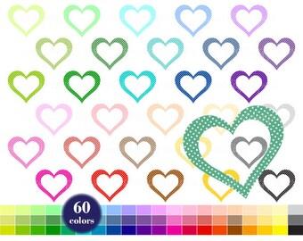 Heart Clipart, Rainbow Clip Art, Heart with Polka Dots, Digital Clipart, Colors Heart, Planner Clipart, Baby Shower, Heart Printable