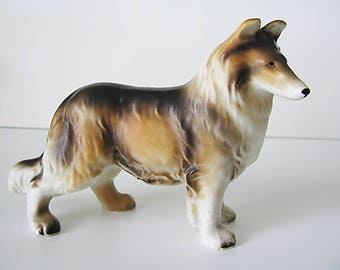 Vintage Collie Dog Figurine Statue Matte Glaze