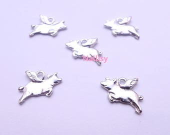 Set of 15 silver flying pigs charms REFP169X3