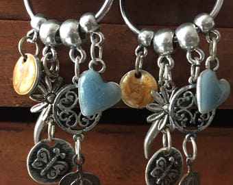 Silver folk earrings blue and amber
