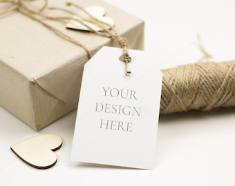 Gift tags mockups, Thank you card mockups, Styled stock photo, Kraft gift tag mockups, Rustic gift photo, Digital download, JPG,