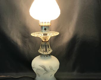 Vintage Hurricane Frosted Glass Table Lamp