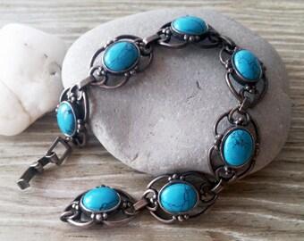 Vintage sterling silver turquoise bracelet from Russia, turquoise bracelet, vintage bracelet, victorian bracelet, sterling silver bracelet