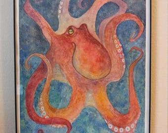 ON SALE Octopus Original Watercolor Painting 9 x 12 animal artwork