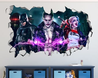 Suicide Squad Character Smashed 3D Wall Decal Kids Sticker Art Decor Vinyl Mural Poster - Broken Wall  - 3D Designs