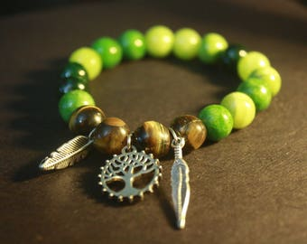Green adventurine and tigers eye with tree of life and feather charms bracelet