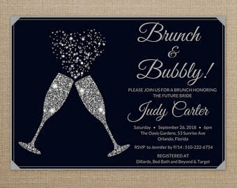 Brunch and Bubbly Bridal Shower Invitation, Black and Silver Bridal Shower Invitation, Bridal Shower Invitation Printable