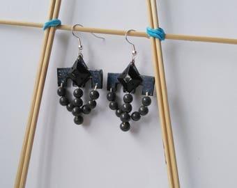 Gray handmade earrings with beads
