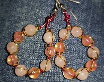 Rose and cherry quartz hoop earrings