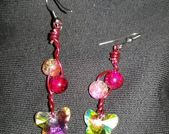Butterfly beaded earrings.