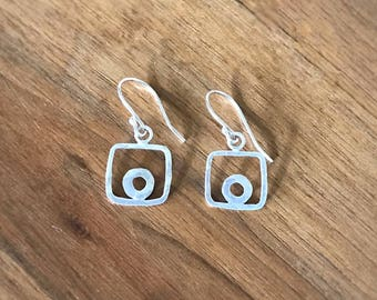 Silver earrings, sterling , circles collection