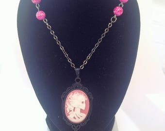 lovely pink skeleton necklace