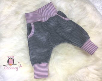 Baby harem pants - grey & pink cord handmade baby clothing - kids harem pants - toddler gift - harem pants trousers stripes