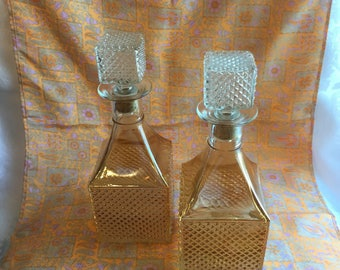 Vintage iridescent glass decanters