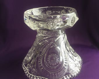 Vintage LE Smith pinwheel and stars glass punch bowl stand