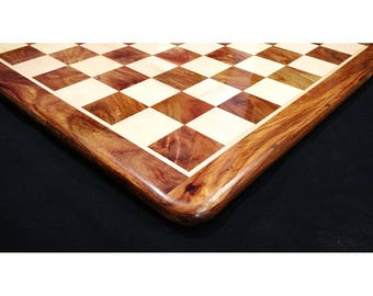 Wooden Chess Board Hand Carved in Golden Rosewood & Maple Wood