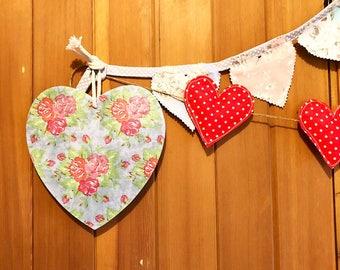Shabby chic hanging heart