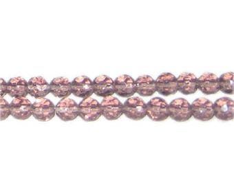 """6mm Mauve Faceted Round Glass Bead, 13"""" string"""