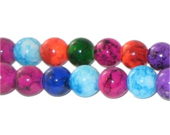 """8mm Round Color Marble-Style Glass Bead, 16"""" string"""
