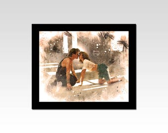Dirty Dancing inspired Baby and Johnny kiss scene watercolour effect print