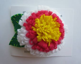 Beautiful pink, white & yellow felt flower bloom hair clip