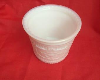 White milk glass vase or planter
