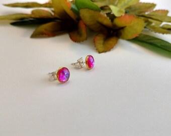 Pink Opal Earrings/ stud earrings/ pink earrings/ small earrings/ simple earrings/ Dragon's breath earrings/ boho accessories