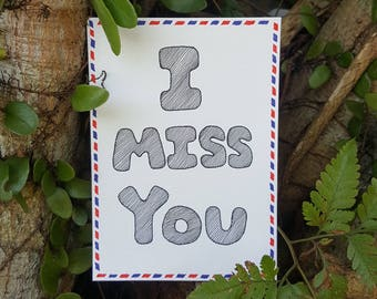 I miss you | Postcard | Ink | Hand-Illustrated