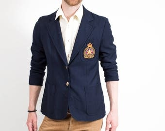 Royal Canadian Legion Blazer / Vintage Unisex British Empire Service League Military Sports Coat / Made in Canada by Highland Queen