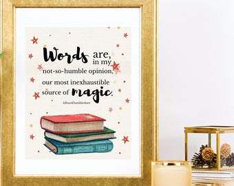 Harry Potter Quote Art Print Dumbledore Words Are Our Most Inexhaustible Source Of Magic Printable Wall Decor
